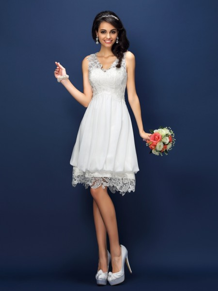 A-Line/Princess V-neck Lace Short Satin Bridesmaid Dress