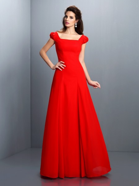 A-Line/Princess Bateau Short Sleeves Long Satin Dress