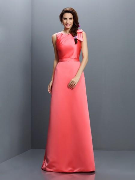 Sheath/Column Bateau Long Satin Bridesmaid Dress