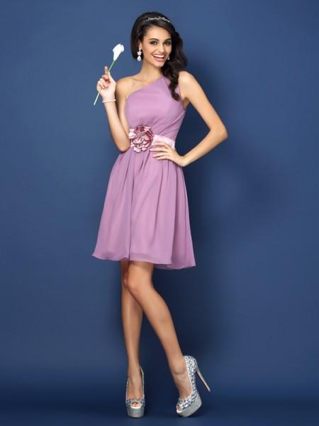 A-Line/Princess One-Shoulder Short Chiffon Bridesmaid Dress