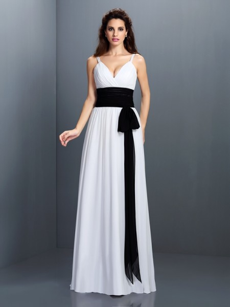 A-Line/Princess V-neck Sash/Ribbon/Belt Bridesmaid Dress with Long Chiffon