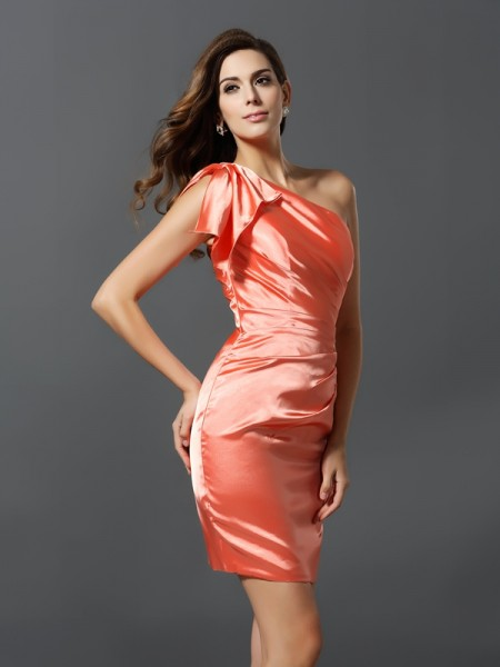 Sheath/Column One-Shoulder Pleats Short Elastic Woven Satin Bridesmaid Dress