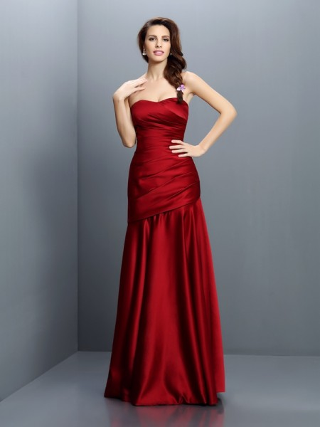 A-Line/Princess Strapless Ruched Long Satin Bridesmaid Dress