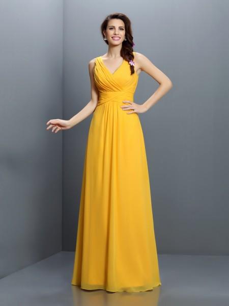 A-Line/Princess V-neck Pleats Bridesmaid Dress with Long Chiffon
