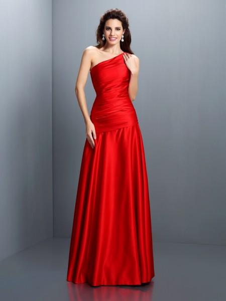 A-Line/Princess One-Shoulder Pleats Long Satin Dress