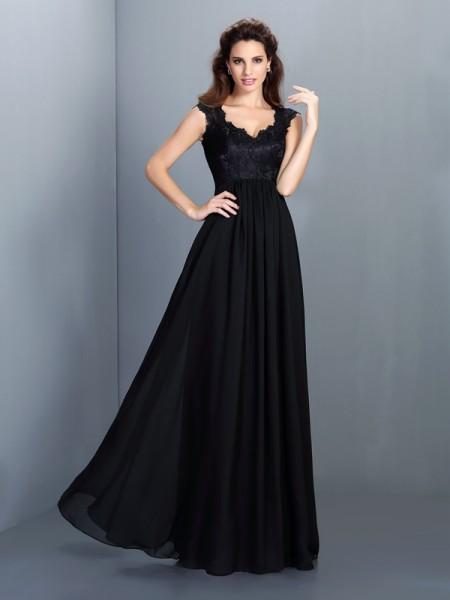 A-Line/Princess Scoop Lace Bridesmaid Dress with Long Chiffon