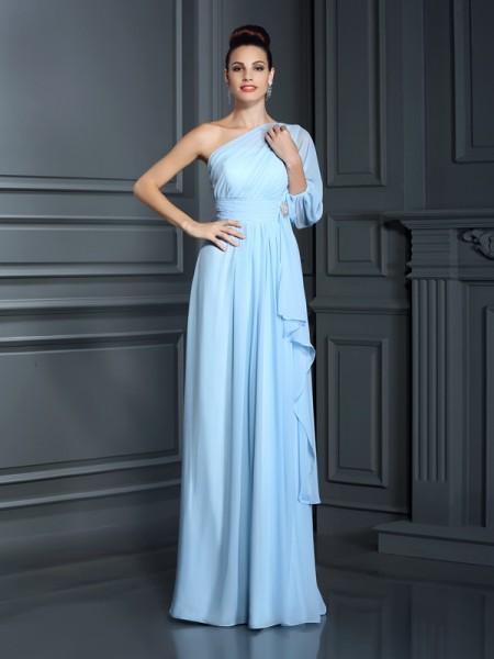 Sheath/Column One-Shoulder Bridesmaid Dress with Long Chiffon