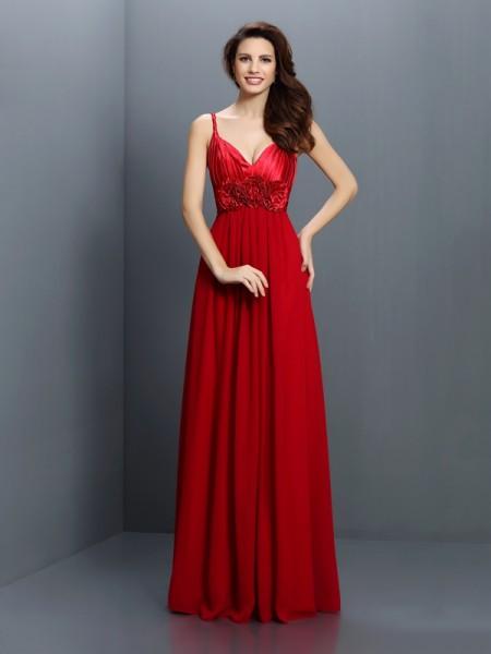 A-Line/Princess V-neck Bridesmaid Dress with Long Chiffon