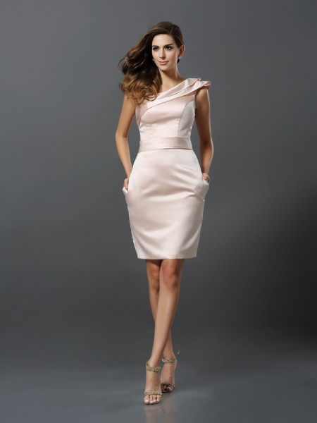 Sheath/Column One-Shoulder Short Satin Cocktail Dress