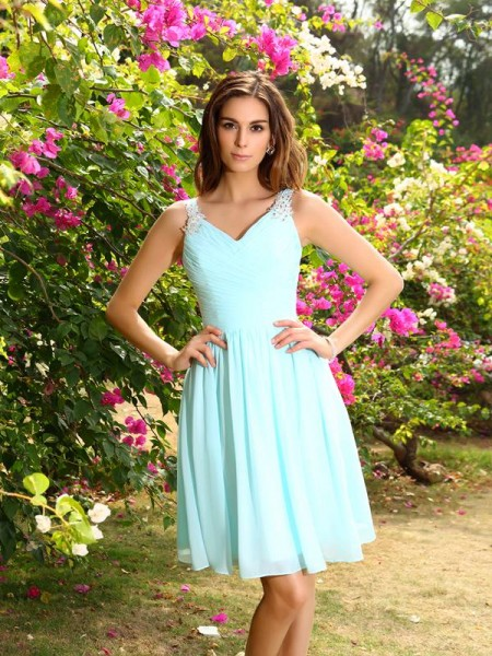 A-Line/Princess Straps Ruched Short Chiffon Bridesmaid Dress