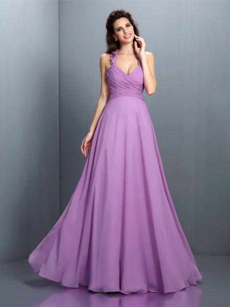 A-Line/Princess Halter Pleats Bridesmaid Dress with Long Chiffon