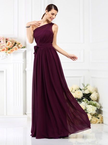 A-Line/Princess One-Shoulder Sash/Ribbon/Belt Bridesmaid Dress with Long Chiffon