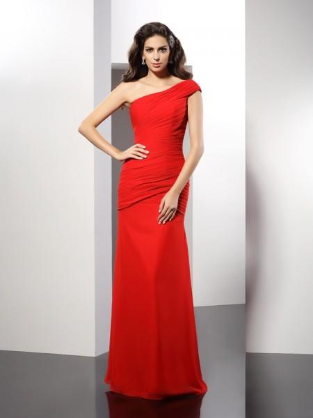 Sheath/Column One-Shoulder Pleats Dress with Long Chiffon