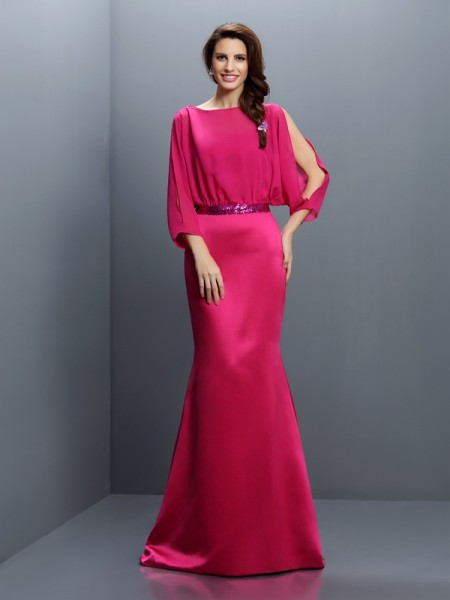 Trumpet/Mermaid Bateau Sash/Ribbon/Belt Long Sleeves Bridesmaid Dress with Long Chiffon