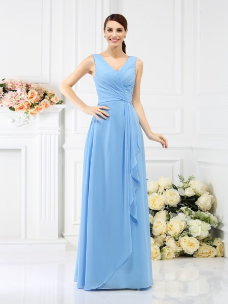 Sheath/Column V-neck Beading Bridesmaid Dress with Long Chiffon