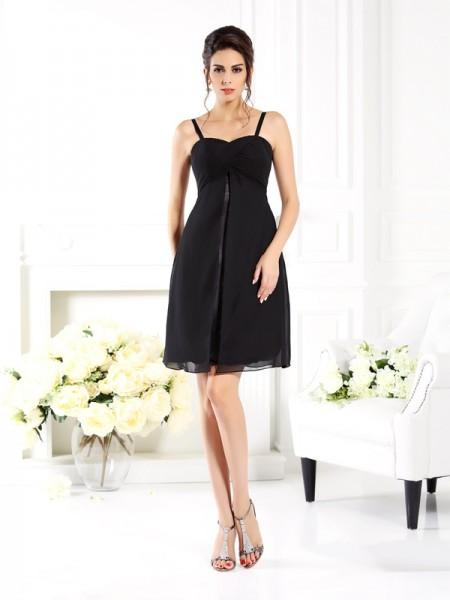 A-Line/Princess Spaghetti Straps Short Chiffon Bridesmaid Dress