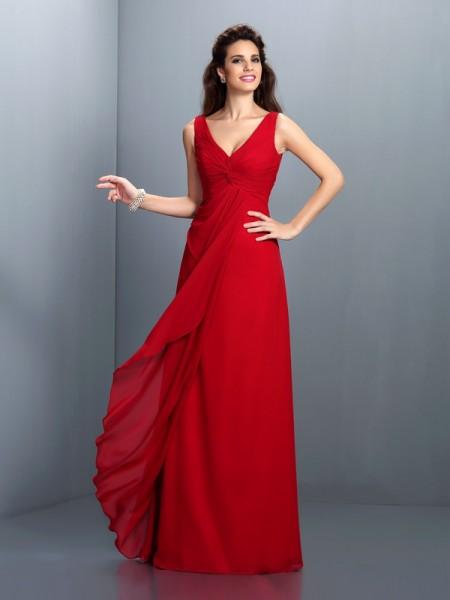 A-Line/Princess Straps Pleats Bridesmaid Dress with Long Chiffon