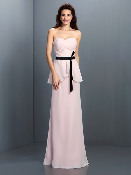 Sheath/Column Sweetheart Sash/Ribbon/Belt Bridesmaid Dress with Long Chiffon