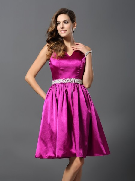 A-Line/Princess Straps Beading Short Elastic Woven Satin Bridesmaid Dress