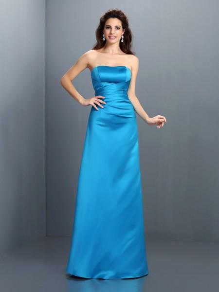 A-Line/Princess Strapless Long Satin Bridesmaid Dress