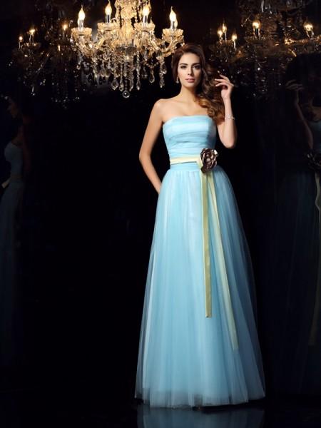 Ball Gown Strapless Sash/Ribbon/Belt Long Satin Quinceanera Dress