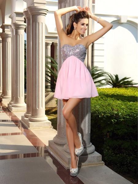 A-Line/Princess Sweetheart Sequin Short Chiffon Cocktail Dress