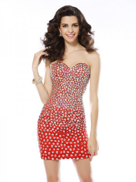 Sheath/Column Sweetheart Short Chiffon Cocktail Dress
