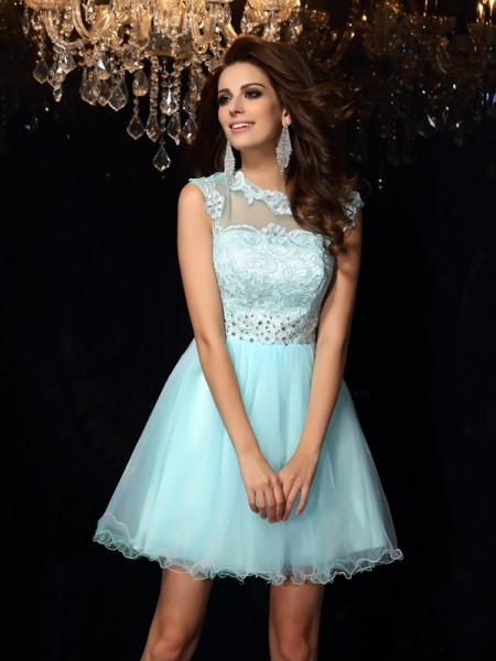 A-Line/Princess High Neck Short Elastic Woven Satin Dress