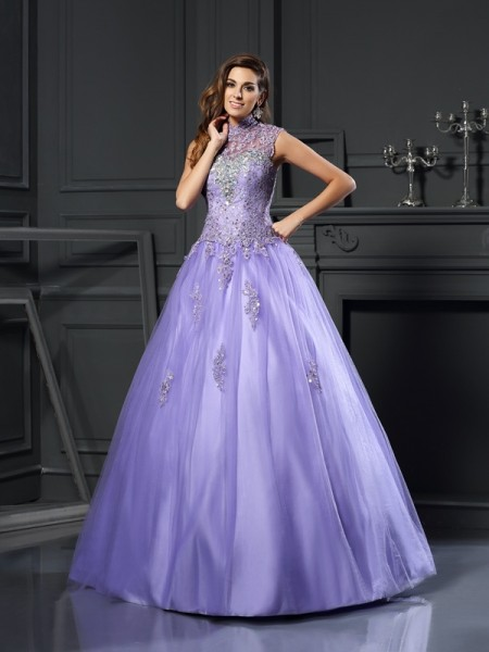 Ball Gown High Neck Beading Long Net Quinceanera Dress