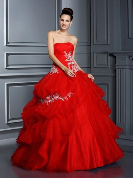 Ball Gown Strapless Applique Long Organza Quinceanera Dress