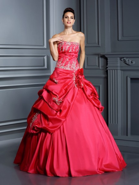 Ball Gown Strapless Applique Long Taffeta Quinceanera Dress