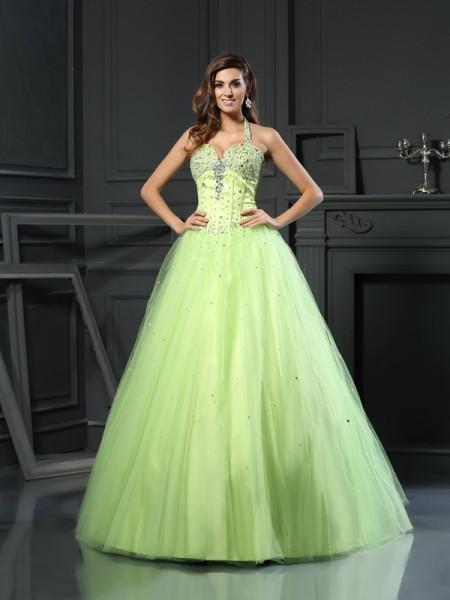 Ball Gown Halter Beading Long Satin Quinceanera Dress