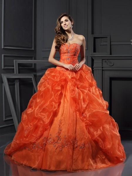 Ball Gown Sweetheart Beading Long Organza Quinceanera Dress