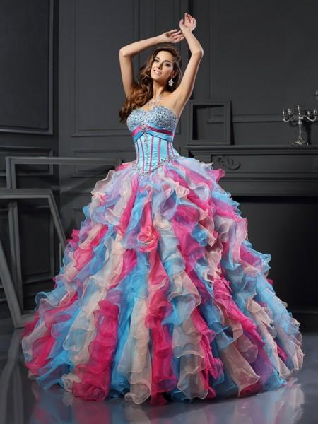 414a65e7989 Ball Gown Sweetheart Beading Long Organza Quinceanera Dress
