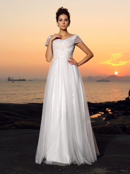 A-Line/Princess Beading Short Sleeves Long Tulle Beach Wedding Dress