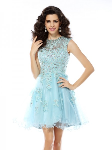 A-Line/Princess Scoop Beading Applique Short Satin Cocktail Dress