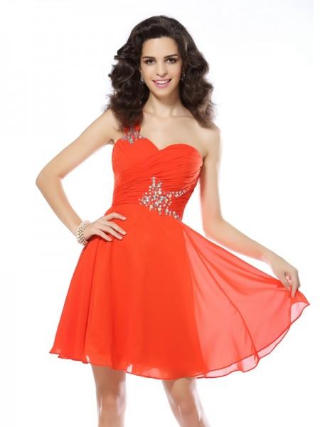 A-Line/Princess One-Shoulder Beading Short Chiffon Cocktail Dress