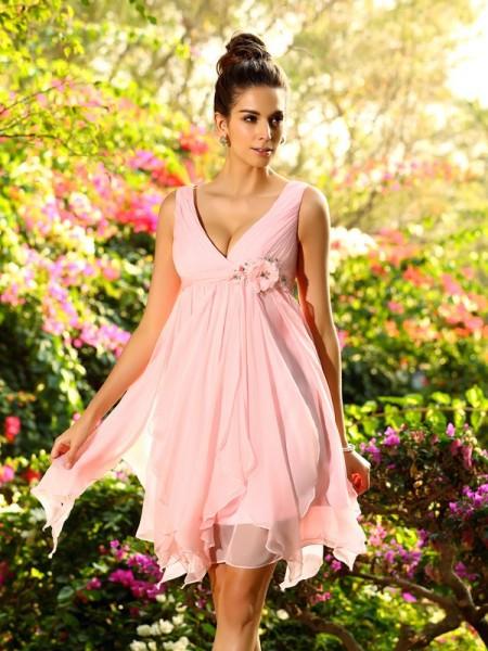 A-Line/Princess V-neck Ruffles Sleeveless Short Chiffon Bridesmaid Dresses