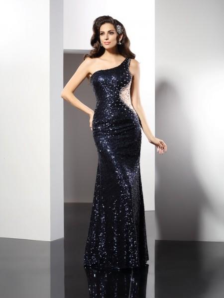 Sheath/Column One-Shoulder Sequin Long Sequins Dress
