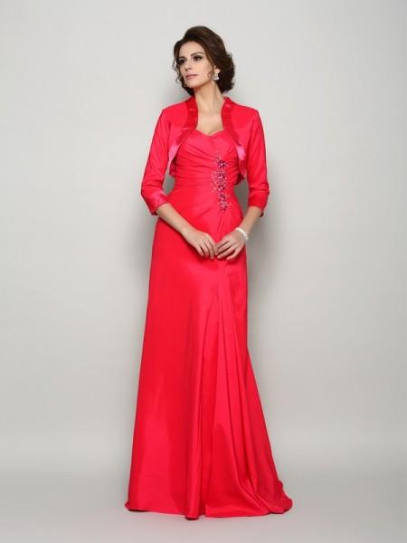 A-Line/Princess Straps Applique Long Elastic Woven Satin Mother of the Bride Dress