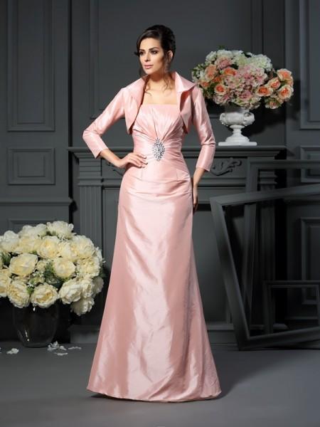 A-Line/Princess Strapless Pleats Long Taffeta Mother of the Bride Dress
