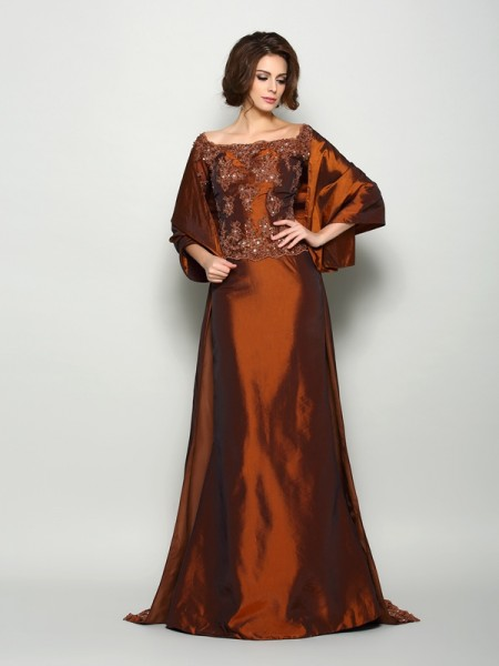 A-Line/Princess Beading 1/2 Sleeves Long Taffeta Mother of the Bride Dress