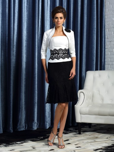 Sheath/Column Strapless Lace Short Taffeta Mother of the Bride Dress
