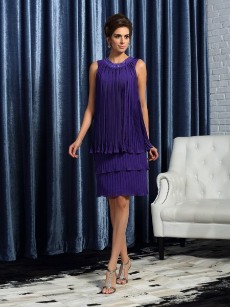 A-Line/Princess Jewel Pleats Short Chiffon Mother of the Bride Dress