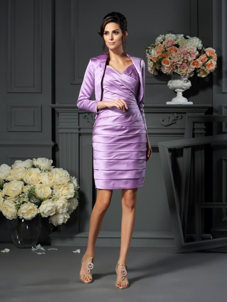 Sheath/Column Straps Ruched Short Satin Mother of the Bride Dress