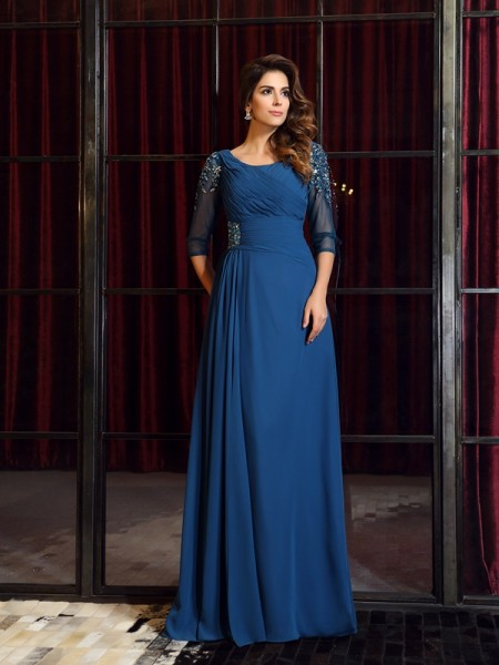 A-Line/Princess Square Ruched 1/2 Sleeves Dress with Long Chiffon