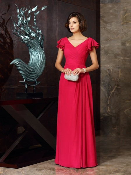 A-Line/Princess V-neck Ruched Short Sleeves Mother of the Bride Dress with Long Chiffon