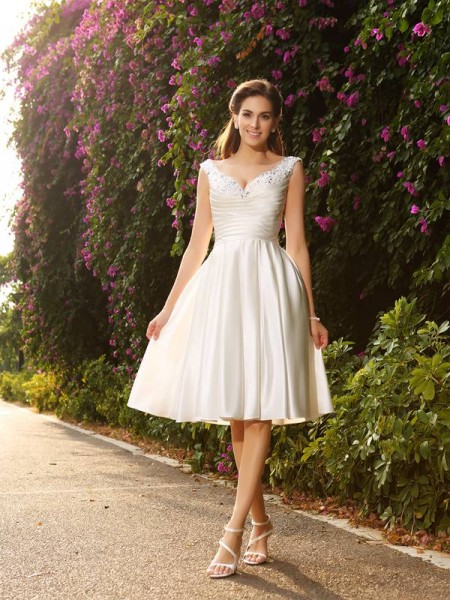 A-Line/Princess V-neck Beading Sleeveless Short Satin Wedding Dresses