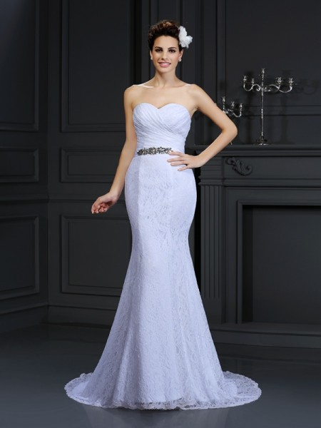 Trumpet/Mermaid Sweetheart Long Lace Wedding Dress