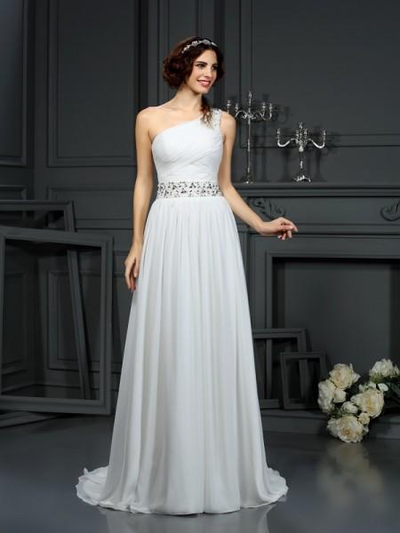 A-Line/Princess One-Shoulder Beading Wedding Dress with Long Chiffon
